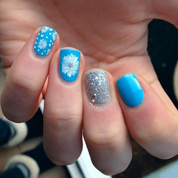 Blue with glitter nail art-34