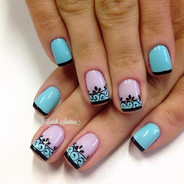 Floral and French tipped nail art design, this design combines light blue  to periwinkle polish ... - 50 Blue Nail Art Designs Art And Design