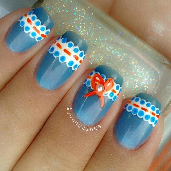Blue with lace nail-25