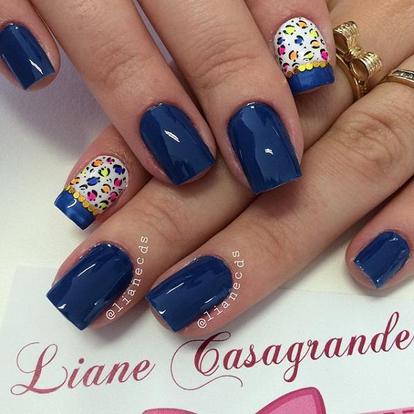 Blue with leopard nail art-21