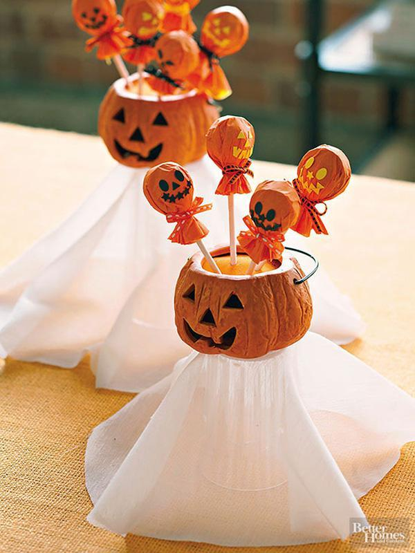DIY Pumpkin with Lollipop Ghost for Kids