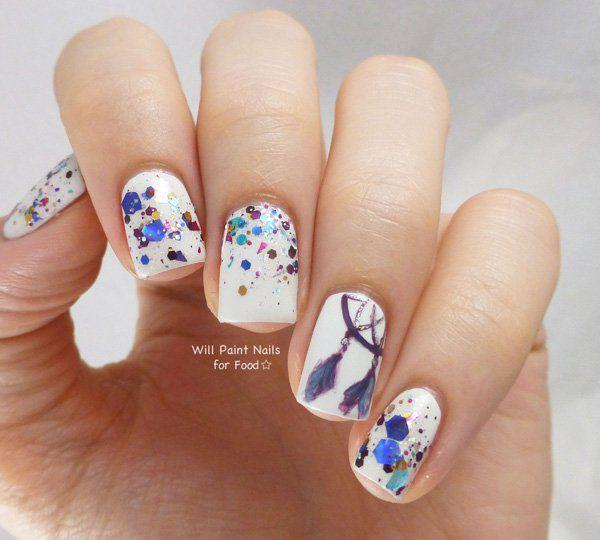 Dreamcatcher watercolor style nail art