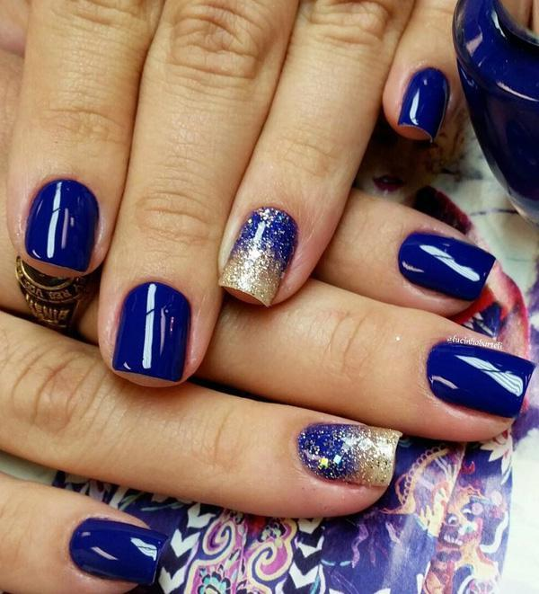 Blue themed washed out gradient nail art design. A rather artsy display of  gradient using ... - 50 Blue Nail Art Designs Art And Design
