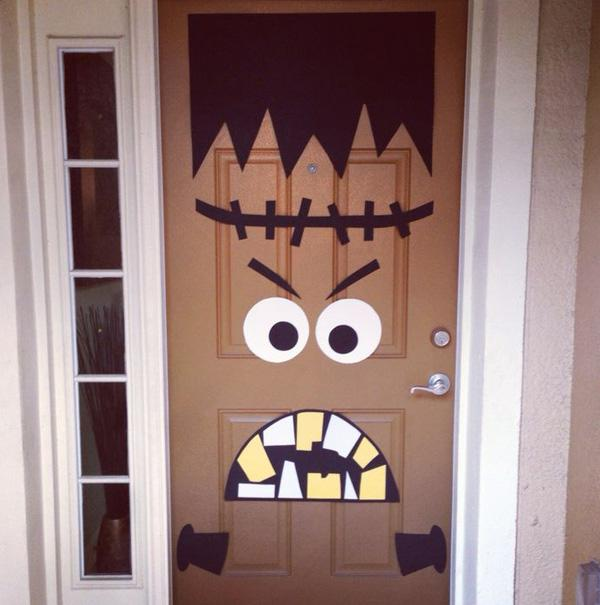 Front door Halloween decor! DIY Frankenstein