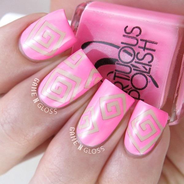 Geometry pink nail-24
