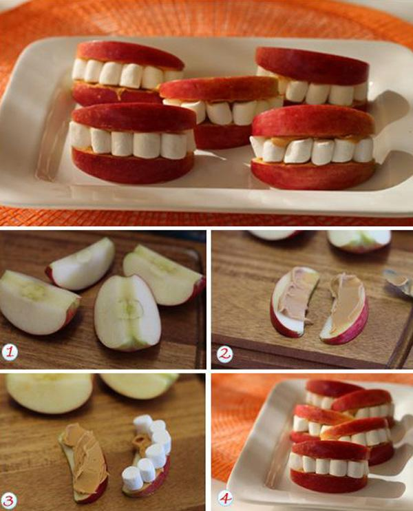 Halloween Teeth Recipe - Easy recipes - apples, peanut butter, marshmallows + silliness