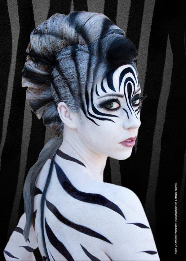 45+ Examples of DIY Halloween Makeup Art and Design - Black And White Halloween Makeup