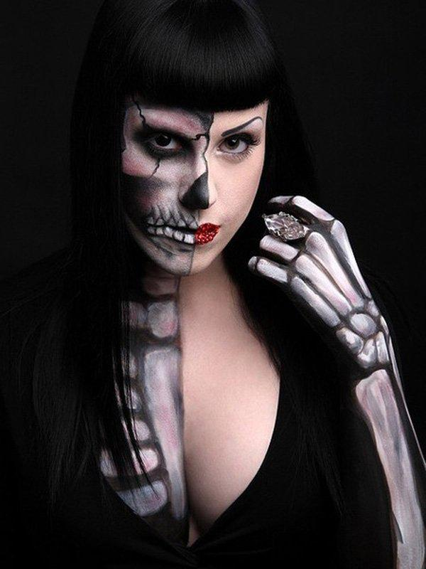 half exposed skeleton makeup give a glimpse of your inner creepiness with this half body - Skeleton Face Paint For Halloween