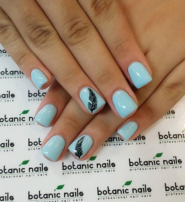 Light blue feather nail art-12