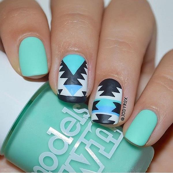 50 blue nail art designs art and design cute and abstract designs on blue green nail polish this nail art design uses blue prinsesfo Choice Image