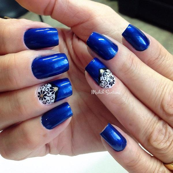 Fashionable and elegant looking blue themed nail art design. This design  also uses white and ... - 50 Blue Nail Art Designs Art And Design