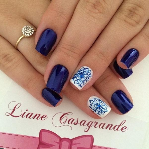 Dark Blue Metallic Nail Art Design With Fl Details On Top White Polish Is