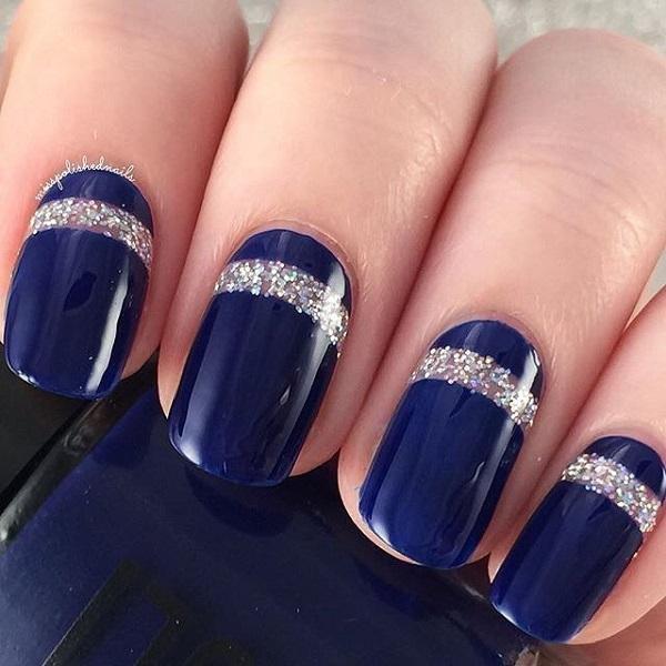 Navy blue with glitter nail art-17