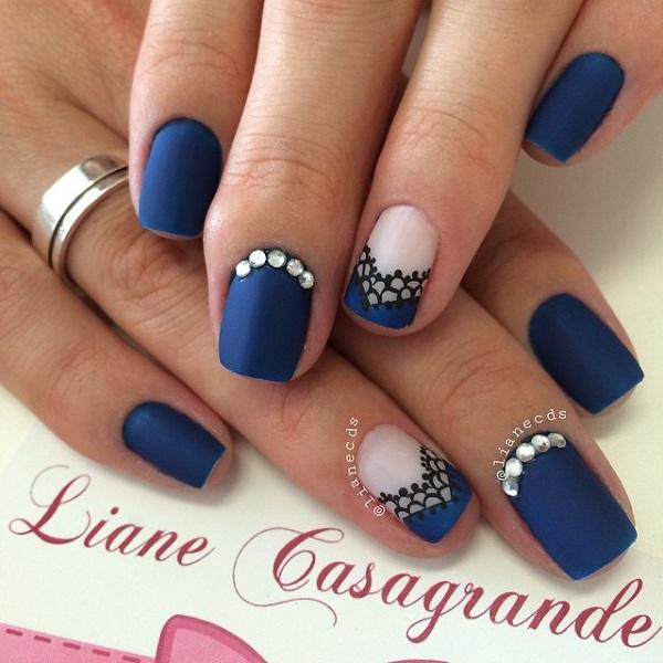 Navy blue with lace nail art design-15