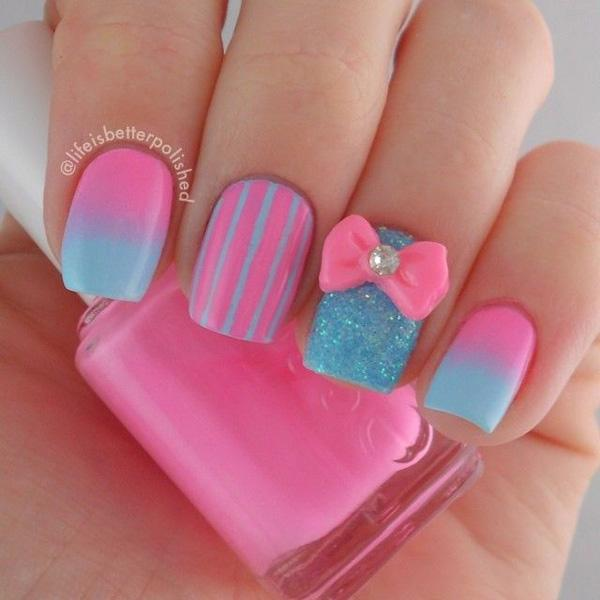 Pink and blue gradient with bow nail art-13
