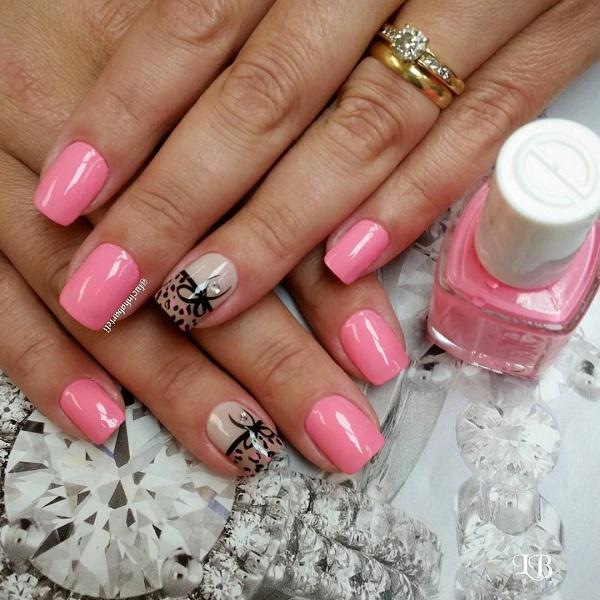 Pink and bow nail -32