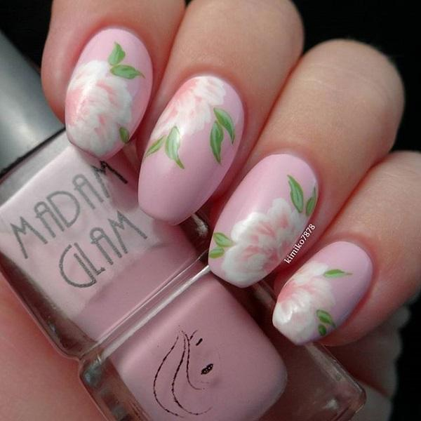 Pink and flower nail art-37