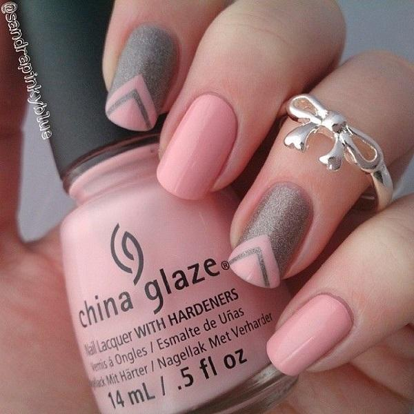 Pretty looking pink nail art design in nude color. This design uses nude  pink polish ... - 50 Pink Nail Art Designs Art And Design