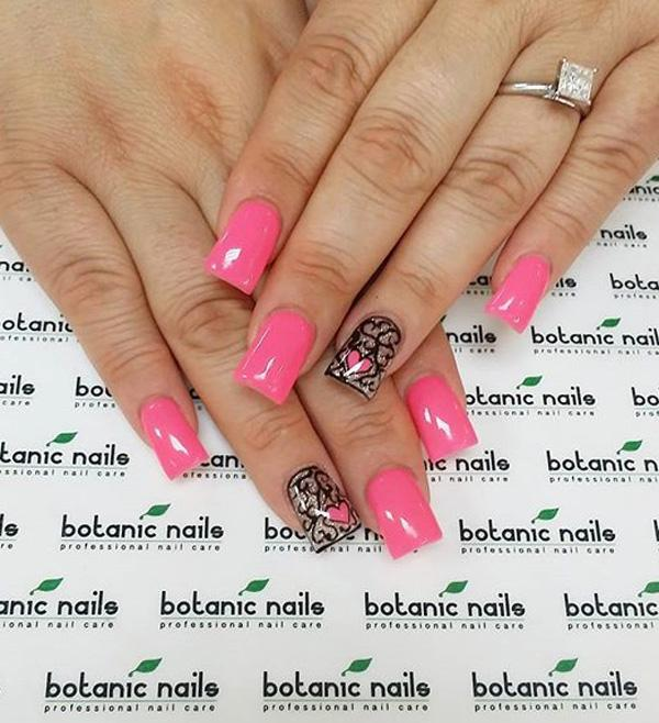 Cute And Adorable Looking Pink Nail Art Design This Uses As