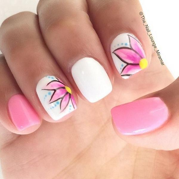 Nail Art Pink Flowers : Pink nail art designs and design