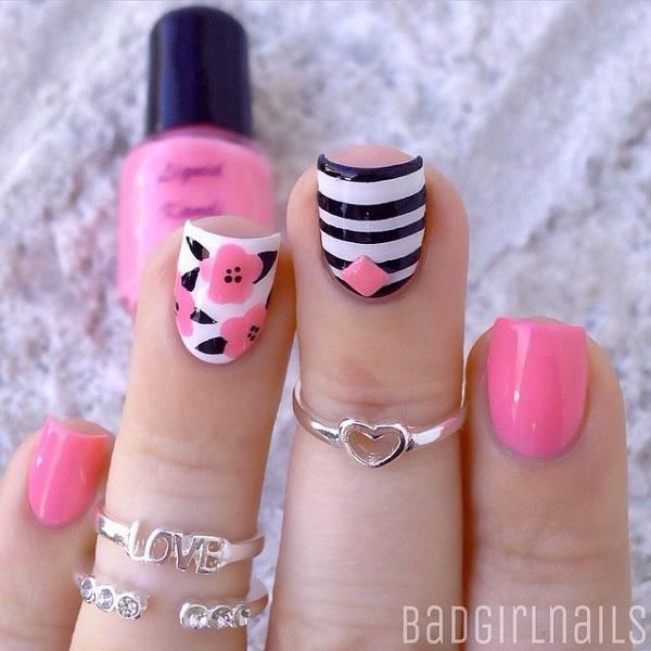 A really cute looking pink nail art design. Using white as base coat, ... - 50 Pink Nail Art Designs Art And Design