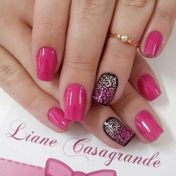 Very cute and unique pink nail art design. This nail art design uses black  polish ... - 50 Pink Nail Art Designs Art And Design