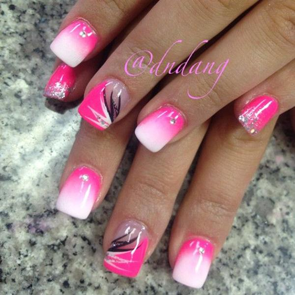 A Pink Themed Grant Inspired Nail Design And White Polishes Are Used To
