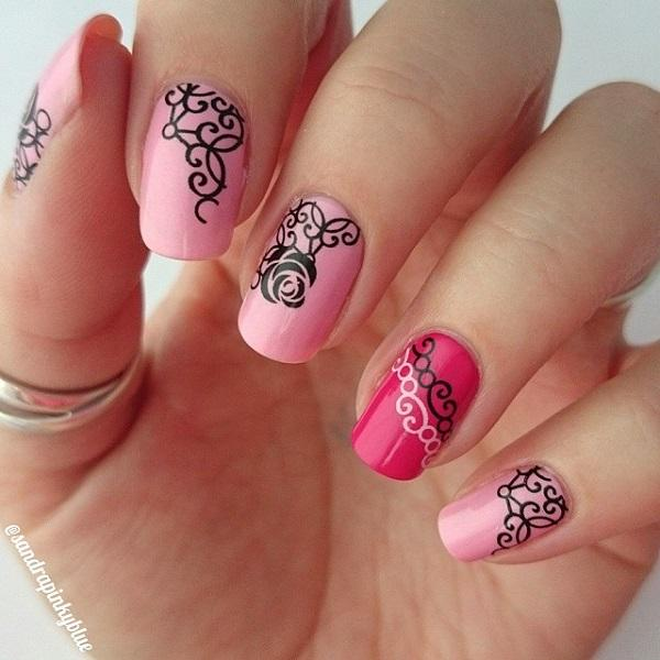 50 pink nail art designs art and design a wonderful looking pink nail art design baby pink and salmon pink colors are used prinsesfo Choice Image