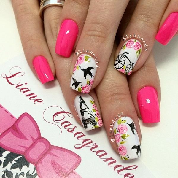 50 pink nail art designs art and design a very candid yet fun looking pink nail art design apart from the matte pink prinsesfo Choice Image