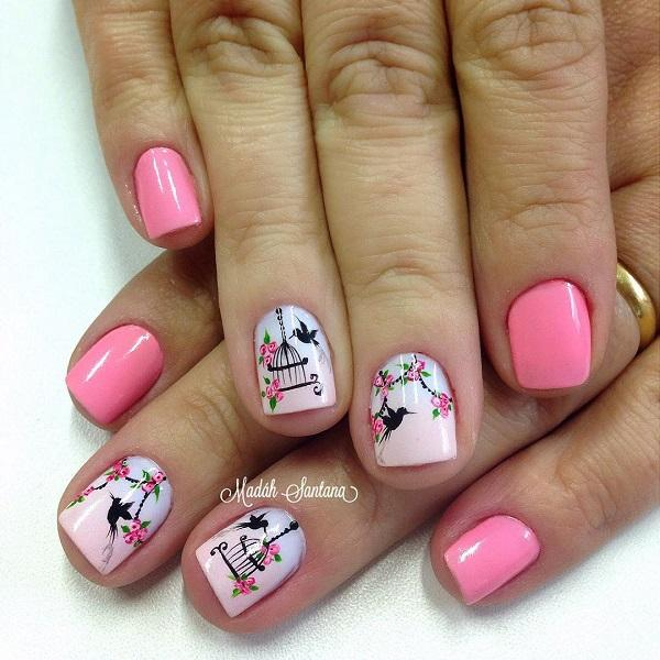 50 pink nail art designs art and design pink nail art design with birds and birdcages a wonderful looking pink nail art design prinsesfo Gallery