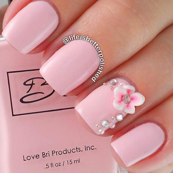 50 pink nail art designs art and design a very classy looking and elegant baby pink nail art design prinsesfo Choice Image