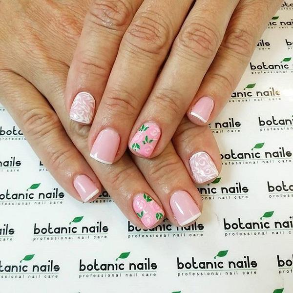 Pink with flower french nail-33
