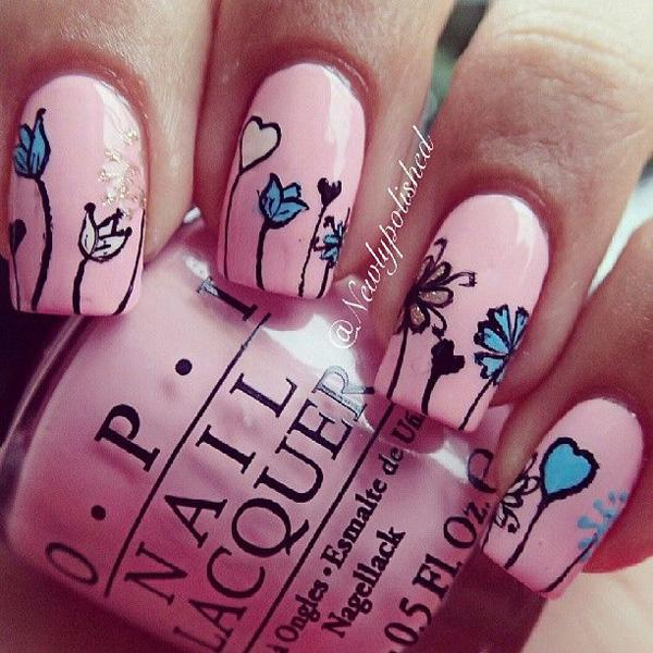 Simple yet cute looking pink nail art design. The base color used for this  design ... - 50 Pink Nail Art Designs Art And Design