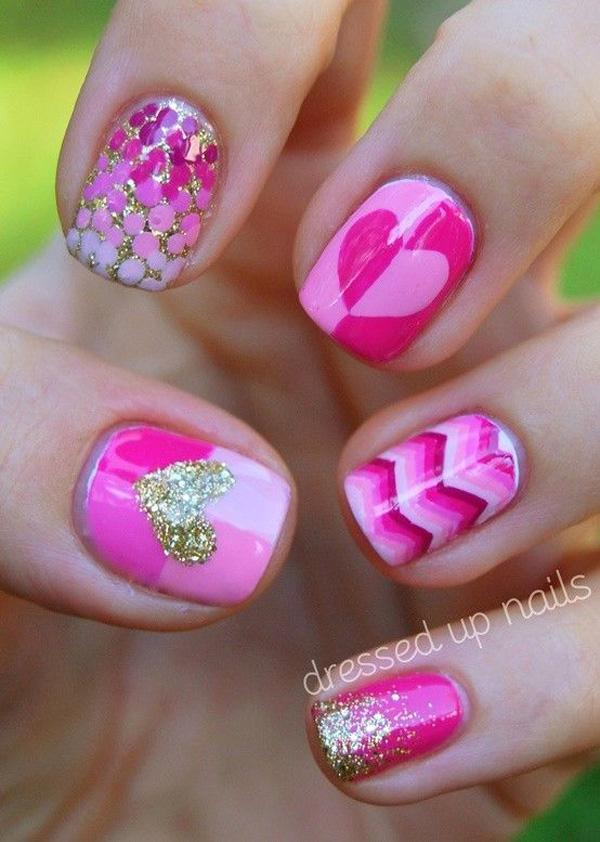 Pink with glitter nail-36