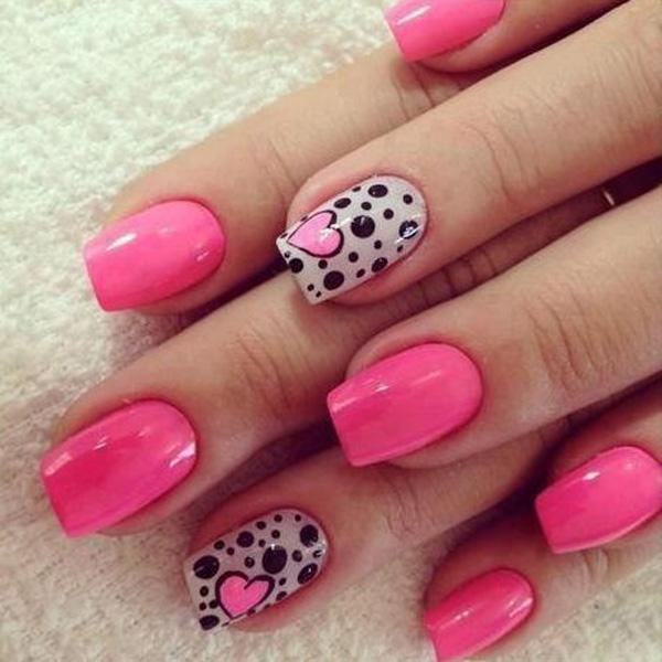 Polka dot and heart themed pink nail art design. Pink and white are used as  ... - 50 Pink Nail Art Designs Art And Design