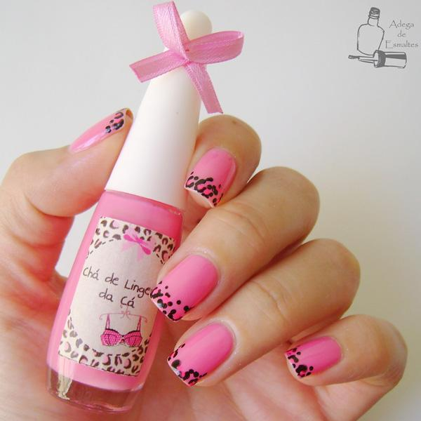 Pink with leopard french nail-14
