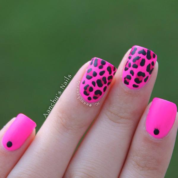 50 pink nail art designs art and design pink with leopard nail 50 pink nail art designs prinsesfo Gallery