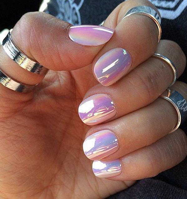 Purple watercolor nail art-7