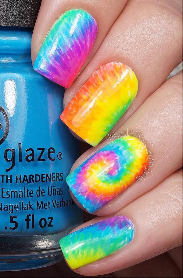 Rainbow Watercolor nail art-7