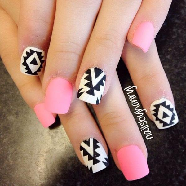 Tribe pink and white nail-27