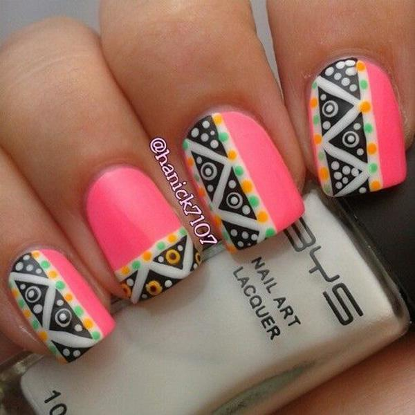 50 pink nail art designs art and design fun with tribal designs using pink nail polish the base color of the design is prinsesfo Gallery