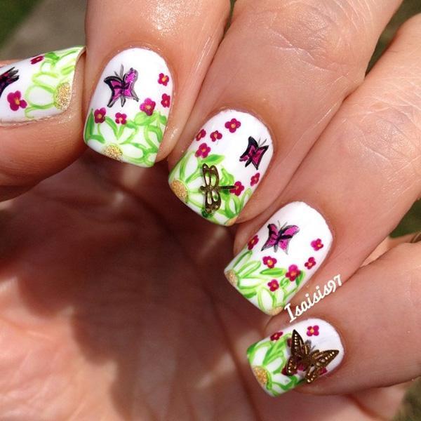 Watercolor butterfly nail art-9