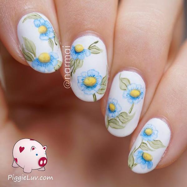 Watercolor flower nail art-5