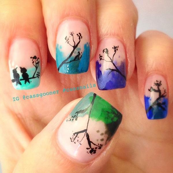 Watercolor nail art-12