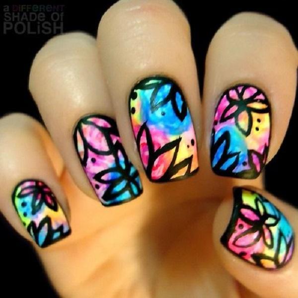 Watercolor nail art-16