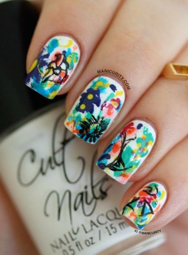 Watercolor nail art-18
