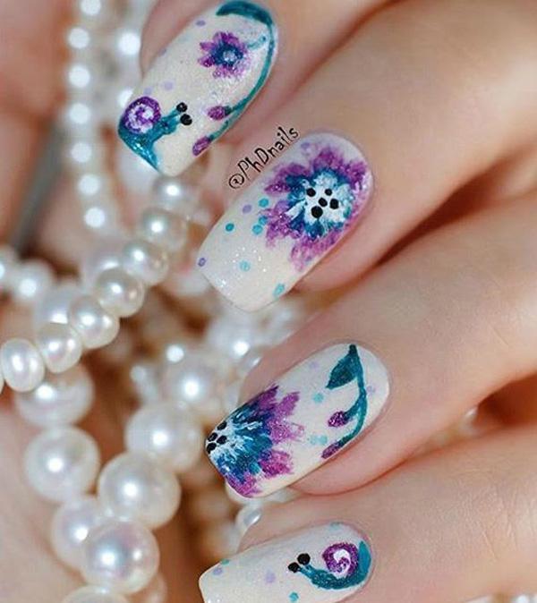 Watercolor nail art-19