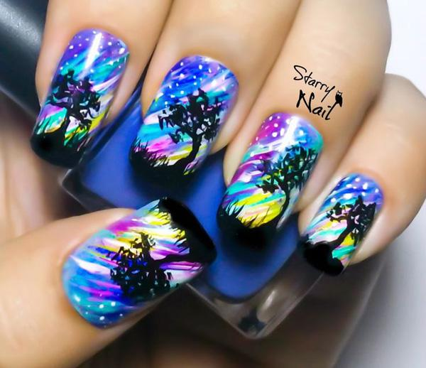 Watercolor nail art-37