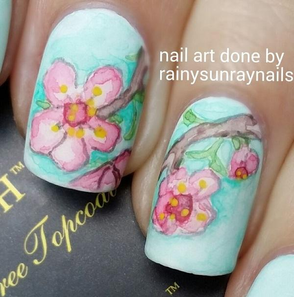 Watercolor nail art-38