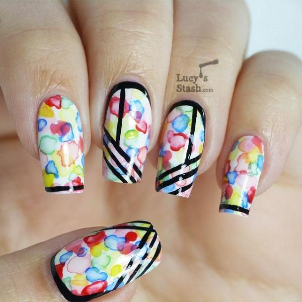 Watercolor nail art-4